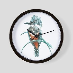 Watercolor Painting Kingfisher Bird Wall Clock