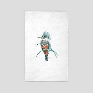 Watercolor Painting Kingfisher Bird 3'x5' Area Rug