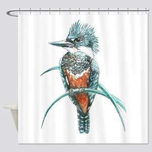 Watercolor Painting Kingfisher Bird Shower Curtain