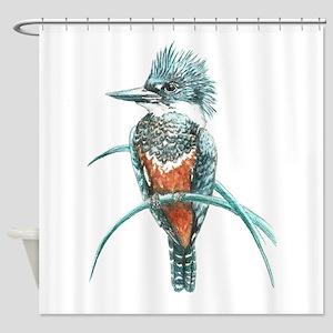 Watercolor Painting Kingfisher Bird Shower Curtain
