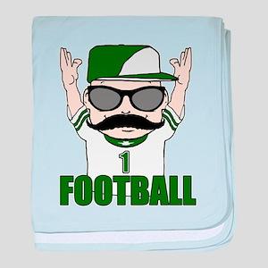 Football green baby blanket