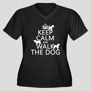 Keep Calm and Walk The Dog Plus Size T-Shirt