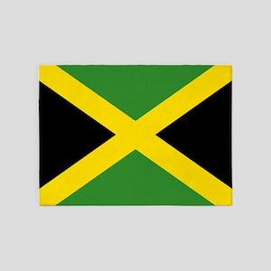 Jamaican Flag 5 X7 Area Rug