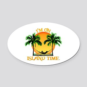 Island Time Oval Car Magnet