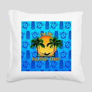 Island Time Tiki Square Canvas Pillow