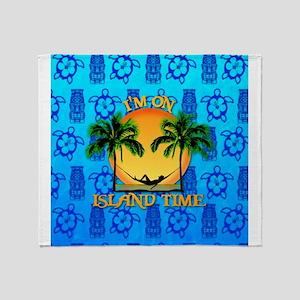 Island Time Tiki Throw Blanket