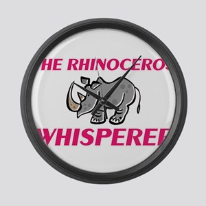 The Rhinoceros Whisperer Large Wall Clock