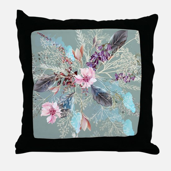 Pink Rose Queen's Anne Lace Floral Throw Pillow