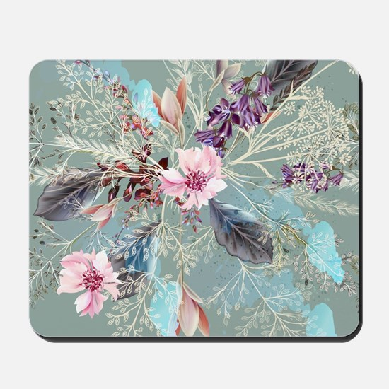 Pink Rose Queen's Anne Lace Floral Mousepad