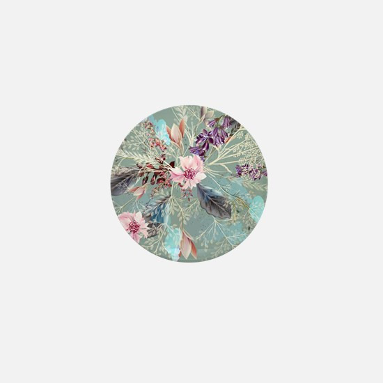 Pink Rose Queen's Anne Lace Floral Mini Button