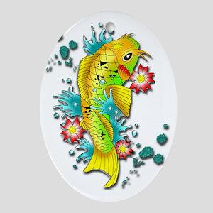 Japanese Koi Fish Oval Ornament