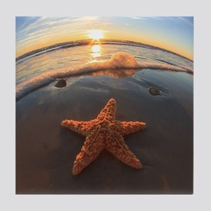 Starfish on Beach at Sunset Tile Coaster