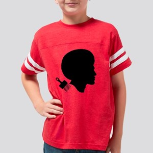 MAN WITH AFRO Womens V-Neck D Youth Football Shirt