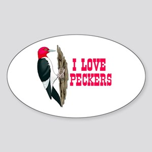 LOVE PECKERS Oval Sticker