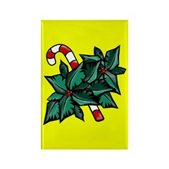 Candy Cane & Holly Y Rectangle Magnet (10 pack)