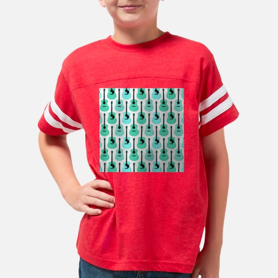 Blue Acoustic Guitars Pattern Youth Football Shirt