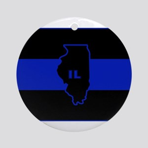 Thin Blue Line Illinois Ornament (Round)