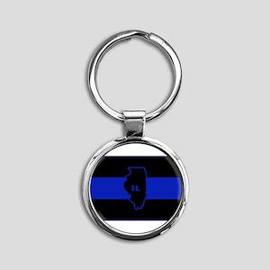 Thin Blue Line Illinois Keychains