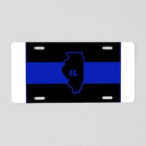 Thin Blue Line Illinois Aluminum License Plate