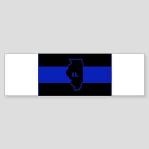 Thin Blue Line Illinois Bumper Sticker