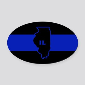 Thin Blue Line Illinois Oval Car Magnet