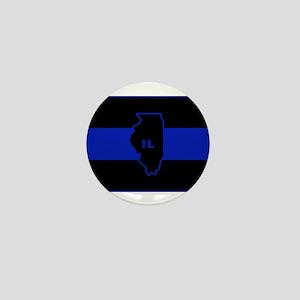 Thin Blue Line Illinois Mini Button