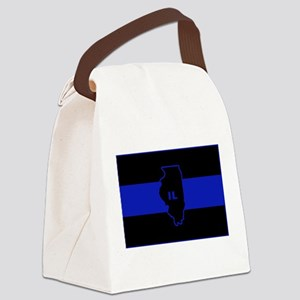 Thin Blue Line Illinois Canvas Lunch Bag