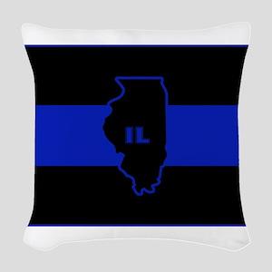 Thin Blue Line Illinois Woven Throw Pillow