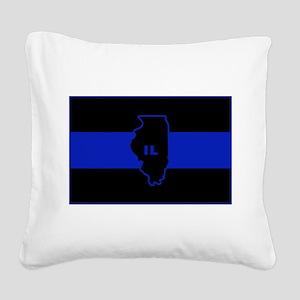 Thin Blue Line Illinois Square Canvas Pillow