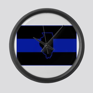 Thin Blue Line Illinois Large Wall Clock