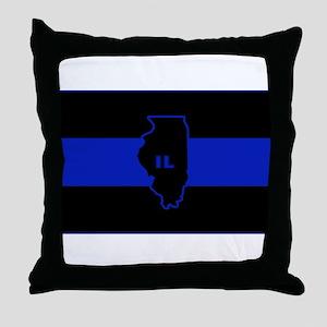 Thin Blue Line Illinois Throw Pillow