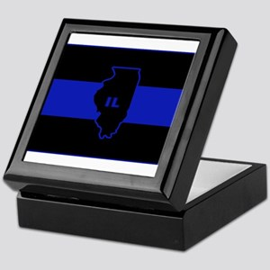 Thin Blue Line Illinois Keepsake Box