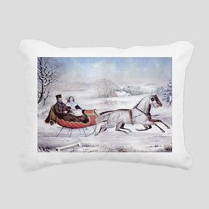 The Road Winter Rectangular Canvas Pillow