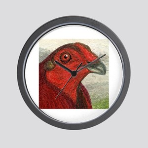 Red Gamecock Wall Clock