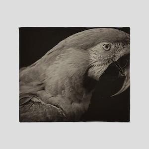 macaw black & white Throw Blanket