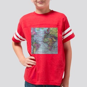 Vintage World travel map Youth Football Shirt