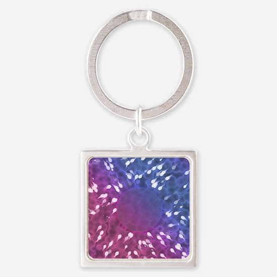 Little Swimmers - Blue/Pink Square Keychain