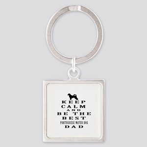 Portuguese Water Dog Dad Designs Square Keychain
