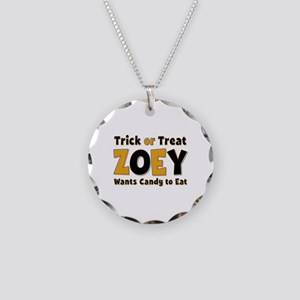 Zoey Trick or Treat Necklace Circle Charm