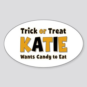 Katie Trick or Treat Oval Sticker