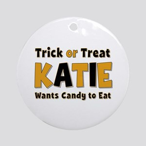 Katie Trick or Treat Round Ornament