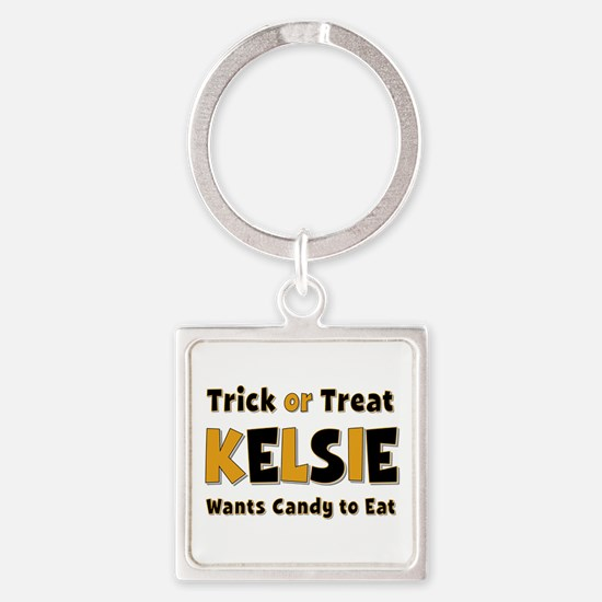 Kelsie Trick or Treat Square Keychain