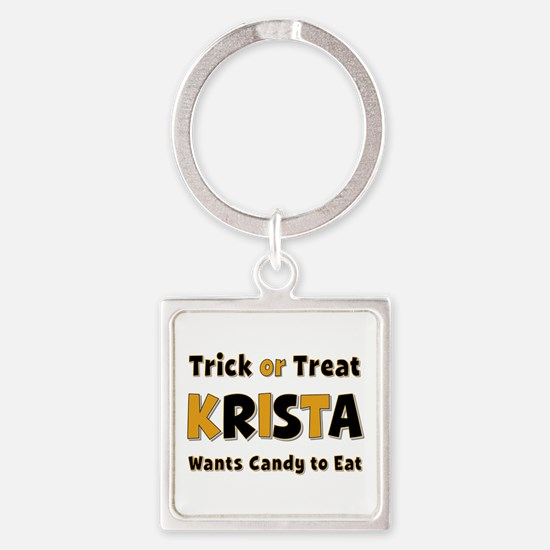 Krista Trick or Treat Square Keychain