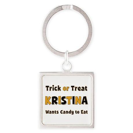 Kristina Trick or Treat Square Keychain