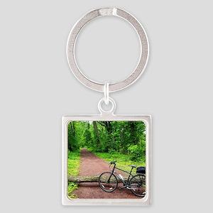 Bike Trail Square Keychain