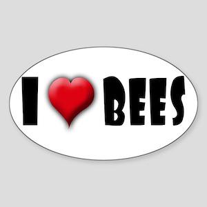 I Love (Heart) Bees Oval Sticker
