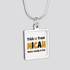 Micah Trick or Treat Silver Square Necklace