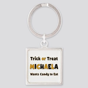 Michaela Trick or Treat Square Keychain