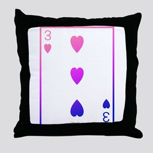 bi colored 3 of hearts Throw Pillow