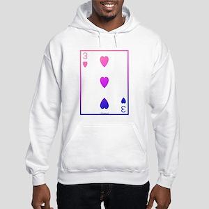 bi colored 3 of hearts Hooded Sweatshirt